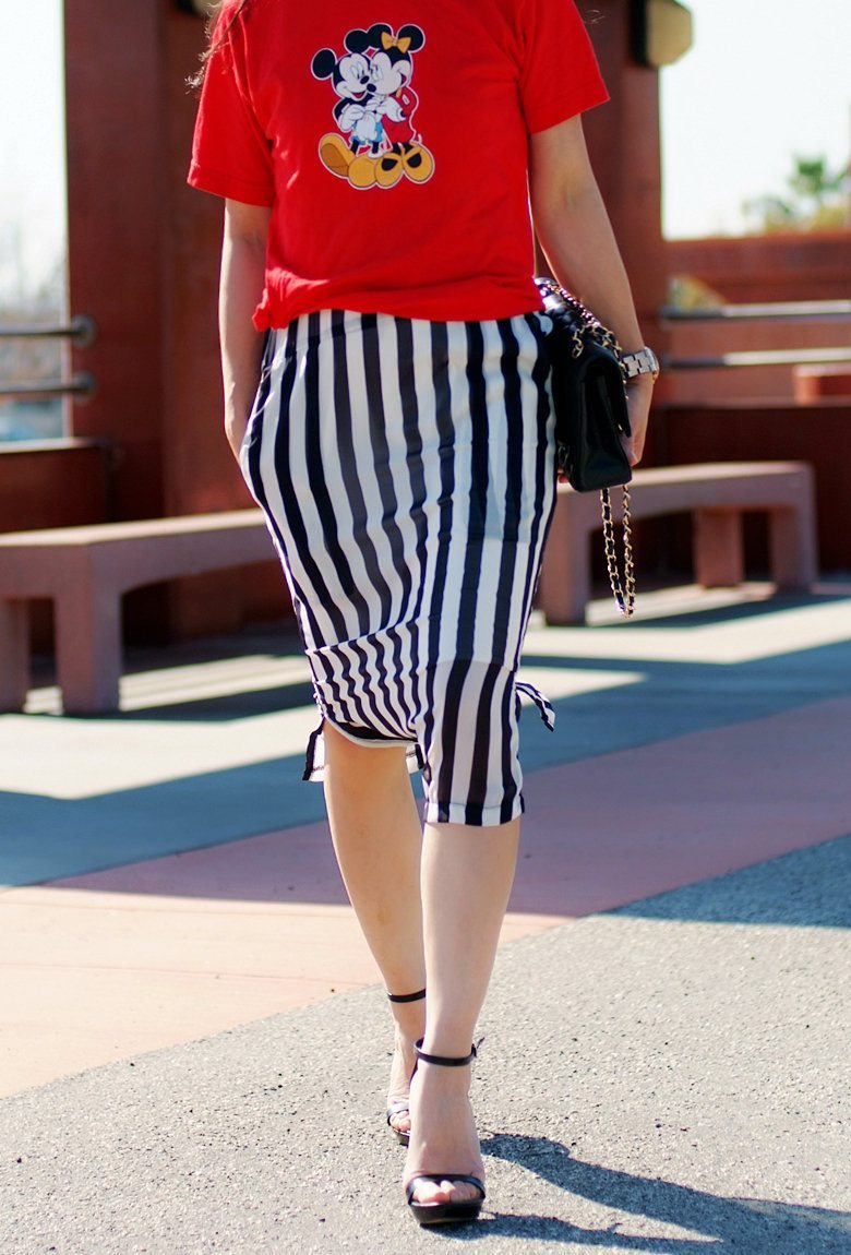 Mickey Tee & Striped Skirt | Hallie Daily