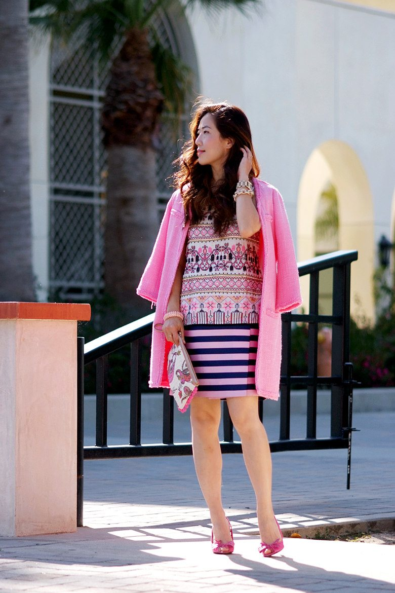 Pink Coat, Striped Skirt, Print Top_0
