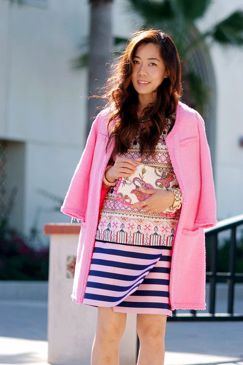 Pink Coat, Striped Skirt, Print Top_4