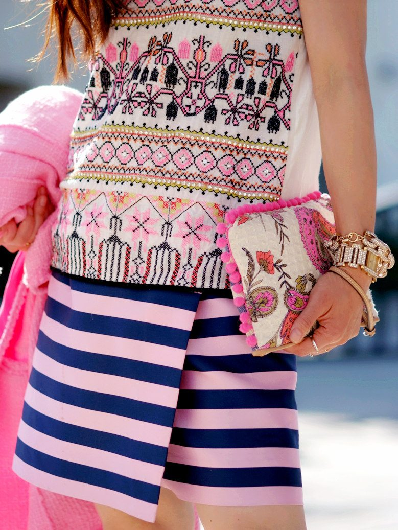 Pink Coat, Striped Skirt, Print Top_6