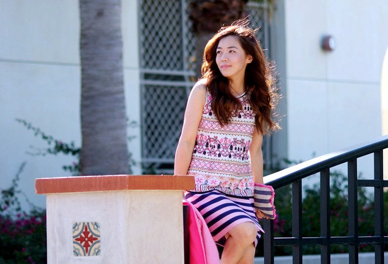 Pink Coat, Striped Skirt, Print Top_8