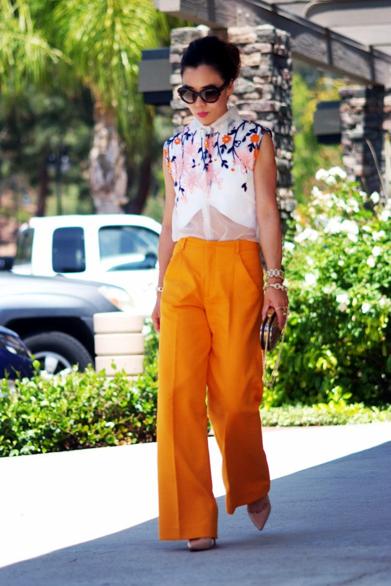 Orange Summer: Embroidered Blouse and Wide Legs Trousers | Hallie ...