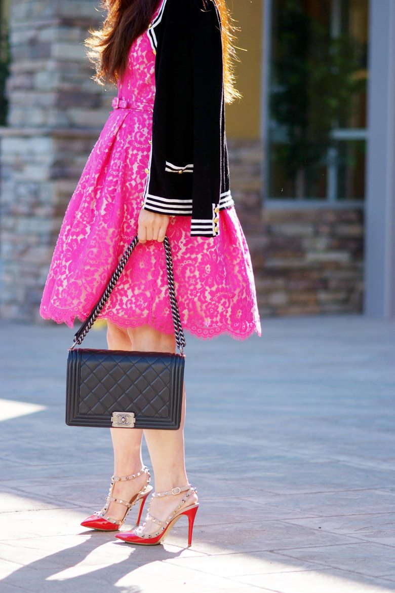 Lovely Lace: Pink Lace Dress and Valentino Rockstud Shoes ...