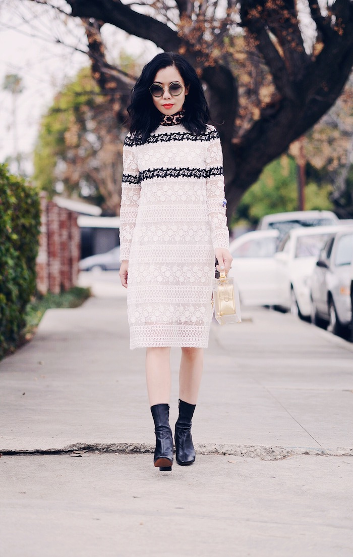 Giamba Lace Dress, Zara Ankle Boots, Mark Cross Box Bag, via: HallieDaily