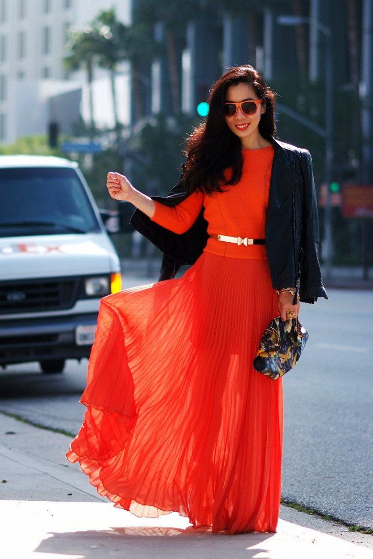 c08aad196852 Maxi Style  Leather Jacket + Orange Set + McQueen Clutch