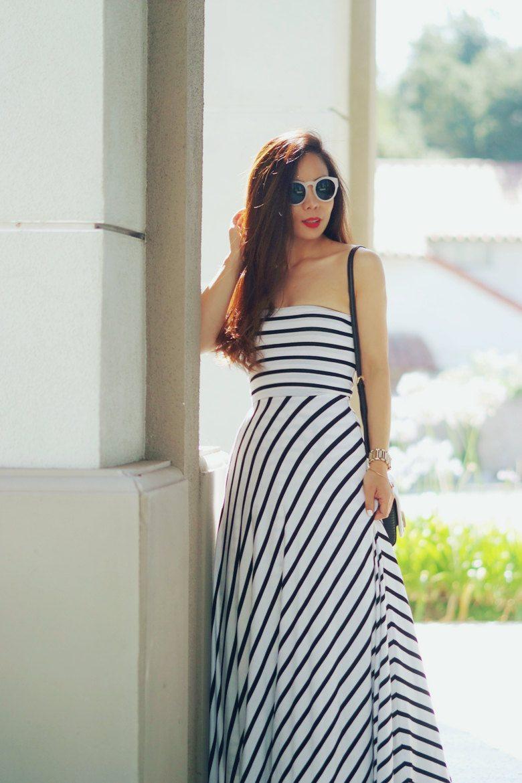Stripe Glamor Bebe Maxi Dress Hallie Daily