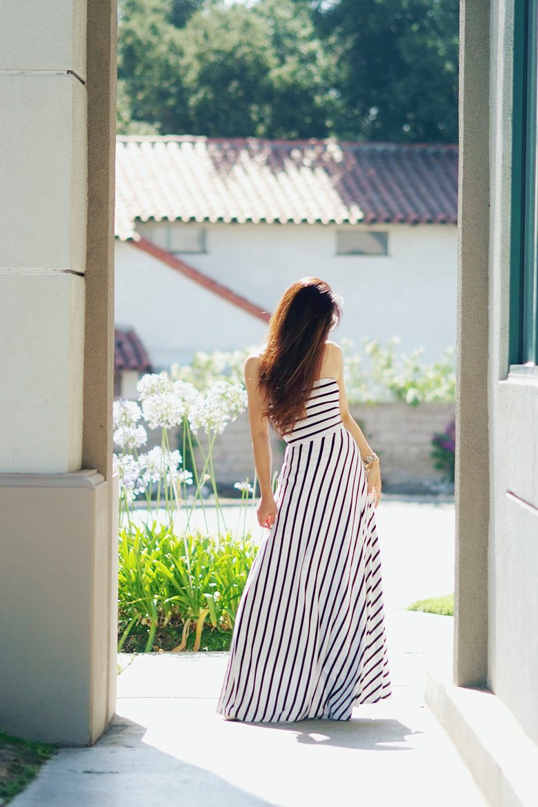 Stripes long maxi dress