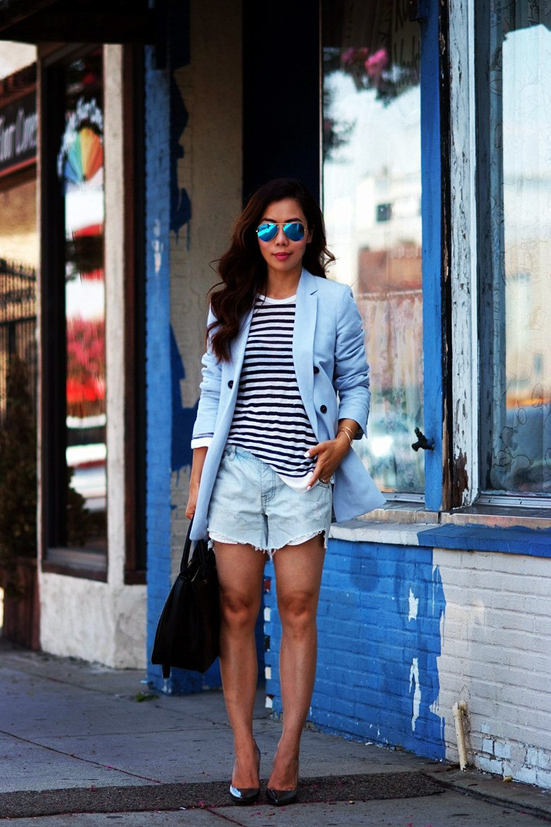 Oversized Style Striped Top Diy Shorts Hallie Daily