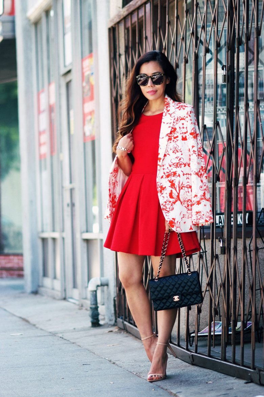 Red Floral Blazer