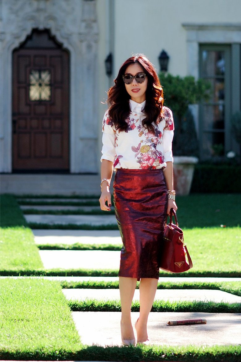 Fall for Red Wine: Floral Sweatshirt, Metallic Pencil Skirt, and ...
