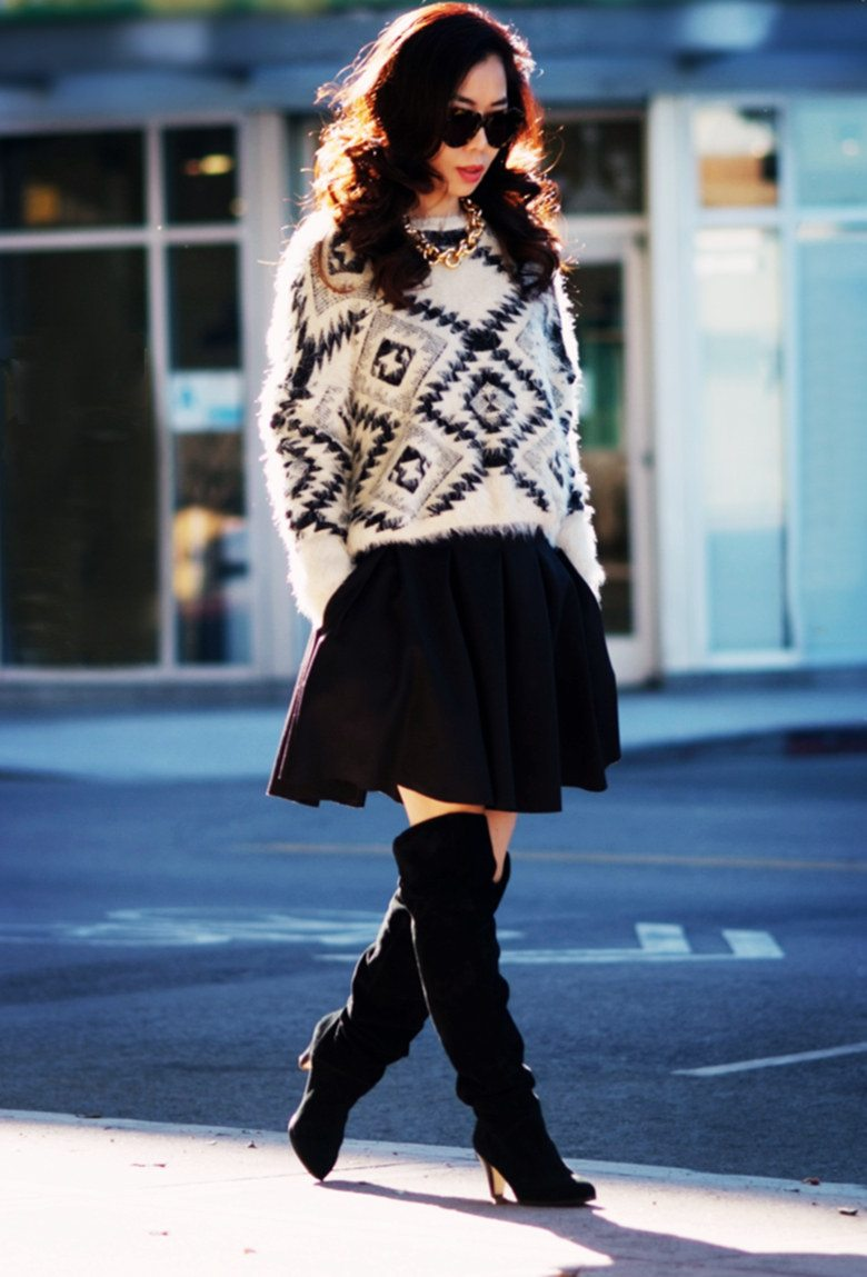 Sweater Season: Oversized Sweater + Pleated Skirt | Hallie ...