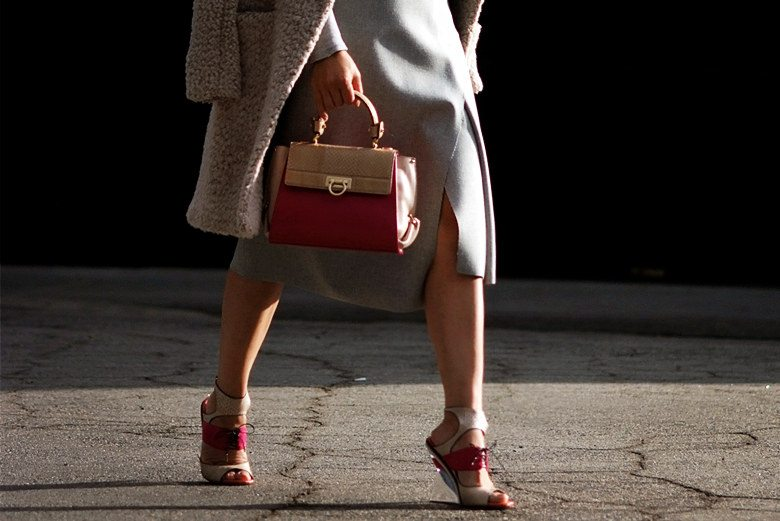 Hallie Swanson Ferragamo Bag and Shoes, HM Coat, Zara Skirt, Gap Top_0