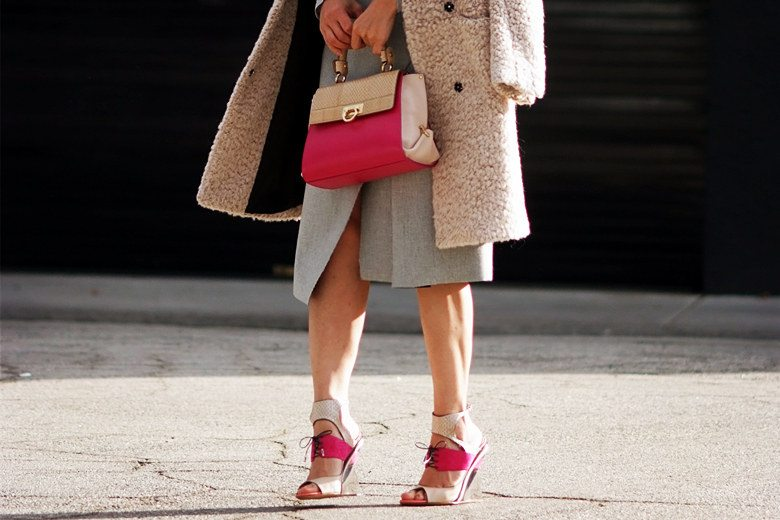 Hallie Swanson Ferragamo Bag and Shoes, HM Coat, Zara Skirt, Gap Top_1