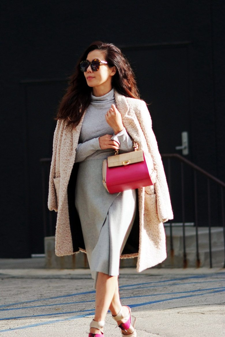 Hallie Swanson Ferragamo Bag and Shoes, HM Coat, Zara Skirt, Gap Top_2