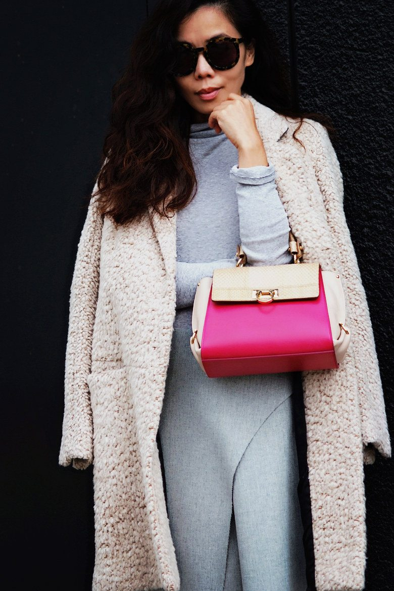 Hallie Swanson Ferragamo Bag and Shoes, HM Coat, Zara Skirt, Gap Top_8
