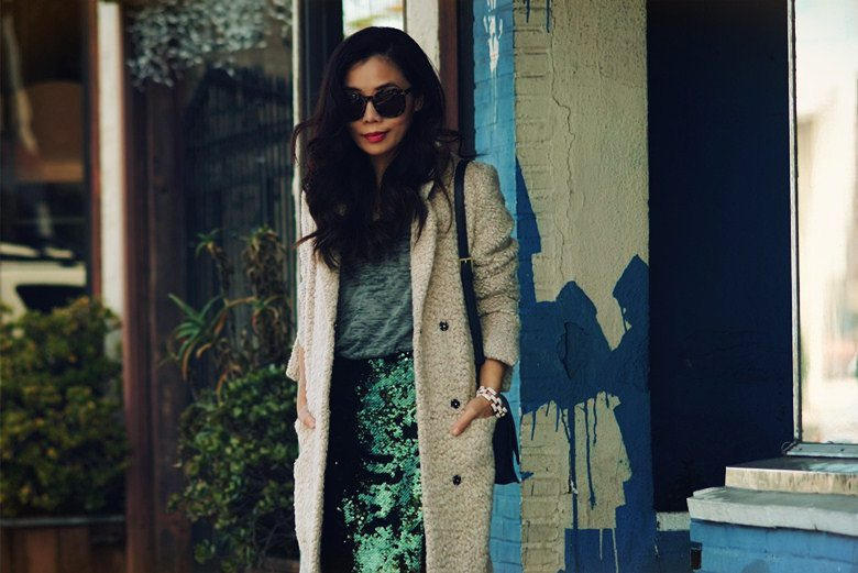 HallieDaily Day Time Sequin H&M Coat Prada Shoes Reiss Bag_3