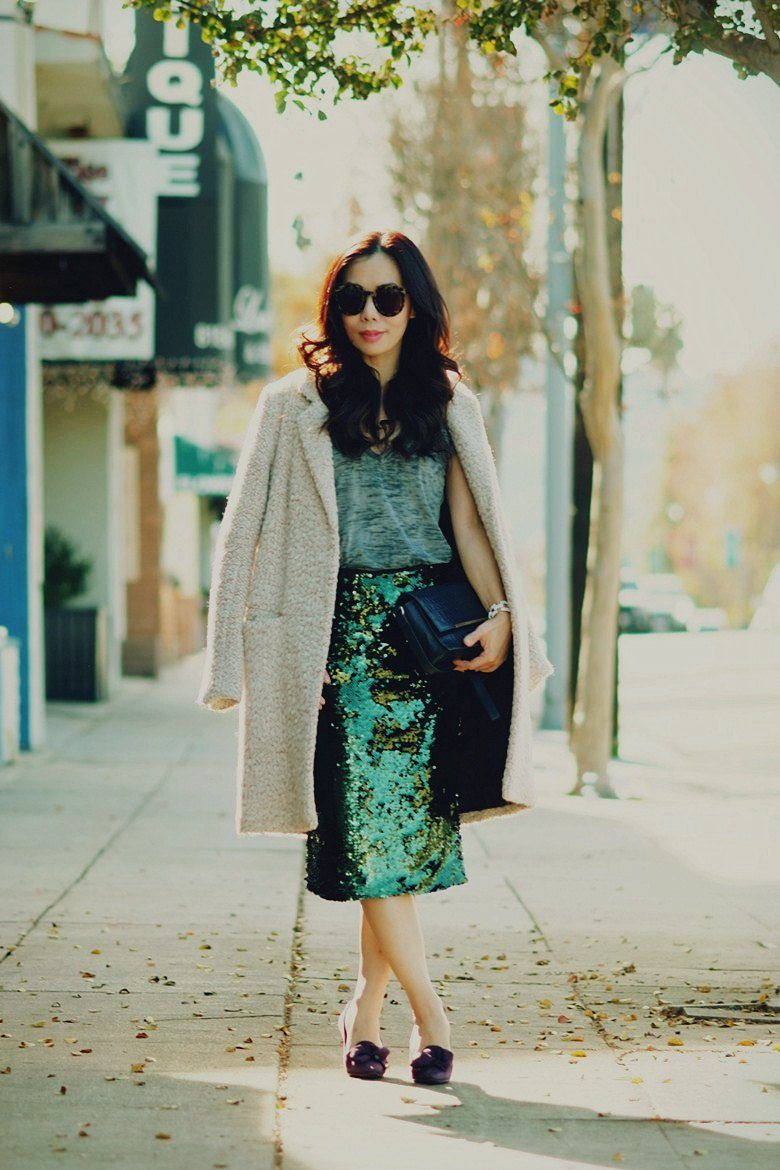 HallieDaily Day Time Sequin H&M Coat Prada Shoes Reiss Bag_7