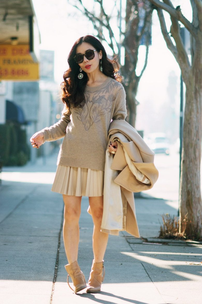 Weekend Light Camel Coat And Creamy Sweater Hallie Daily