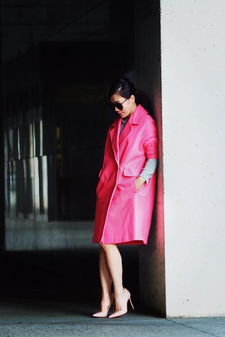 HallieDaily Pink Coat and Nude Pumps_0