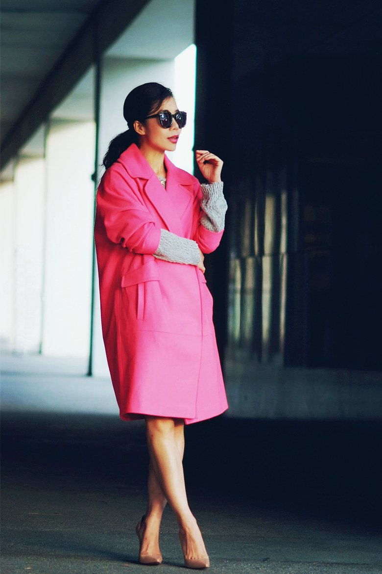 HallieDaily Pink Coat and Nude Pumps_3