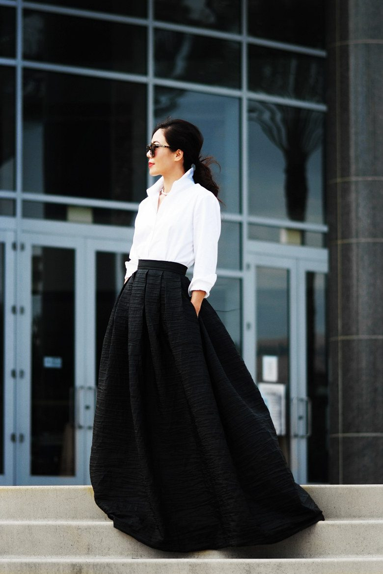 3f011b1ffbe0 Style Edition  Black Maxi Skirt and White Button Down Shirt