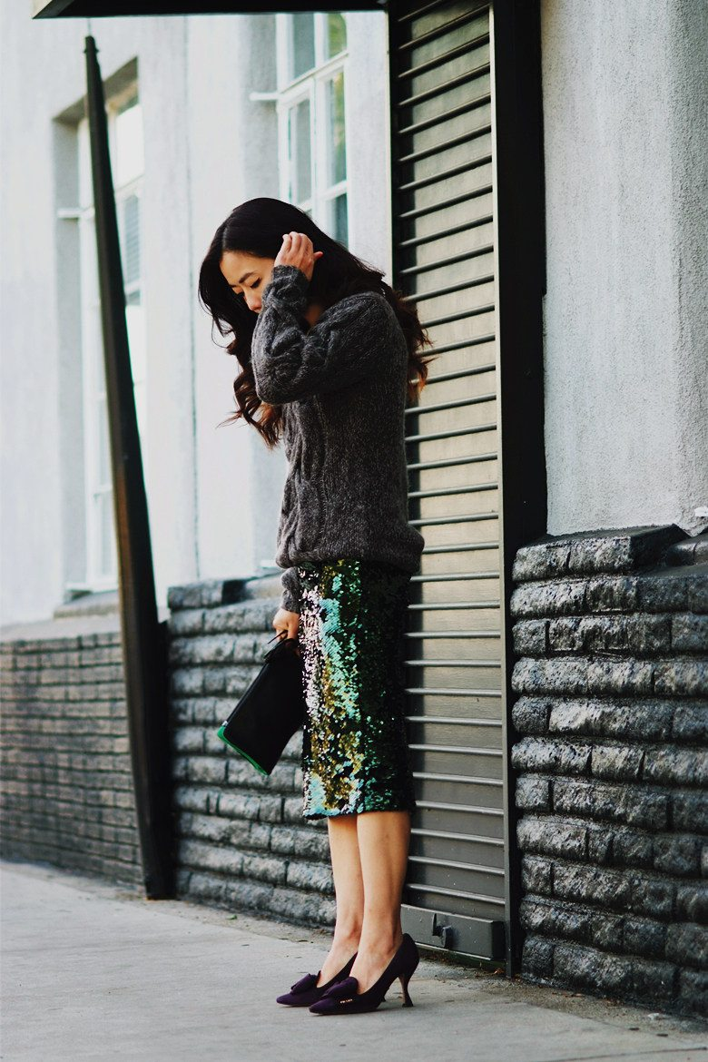 HallieDaily Chunky Sweater, Sequin Skirt, Prada Shoes, 3.1 Phillip Lim Clutch_0