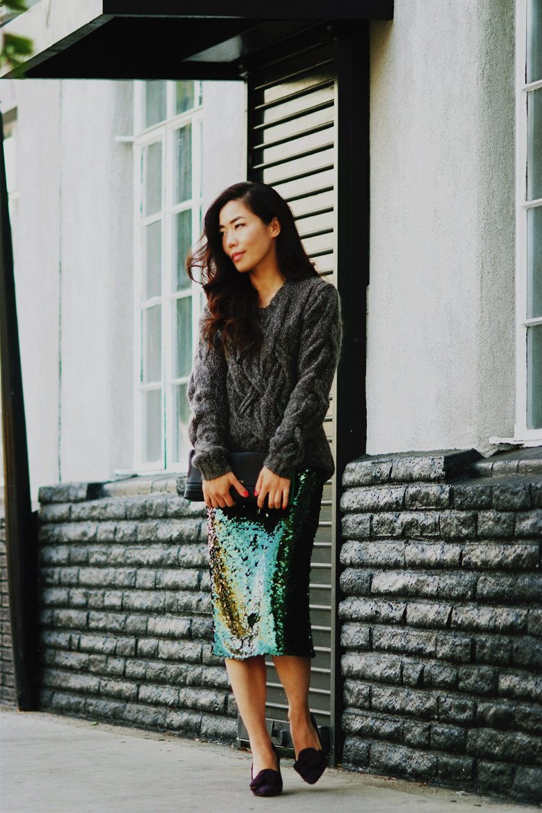 HallieDaily Chunky Sweater, Sequin Skirt, Prada Shoes, 3.1 Phillip Lim Clutch_1
