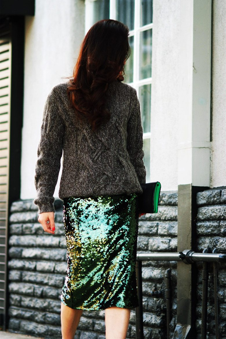 HallieDaily Chunky Sweater, Sequin Skirt, Prada Shoes, 3.1 Phillip Lim Clutch_2