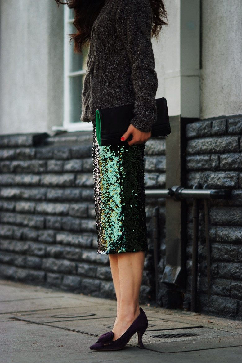 HallieDaily Chunky Sweater, Sequin Skirt, Prada Shoes, 3.1 Phillip Lim Clutch_3