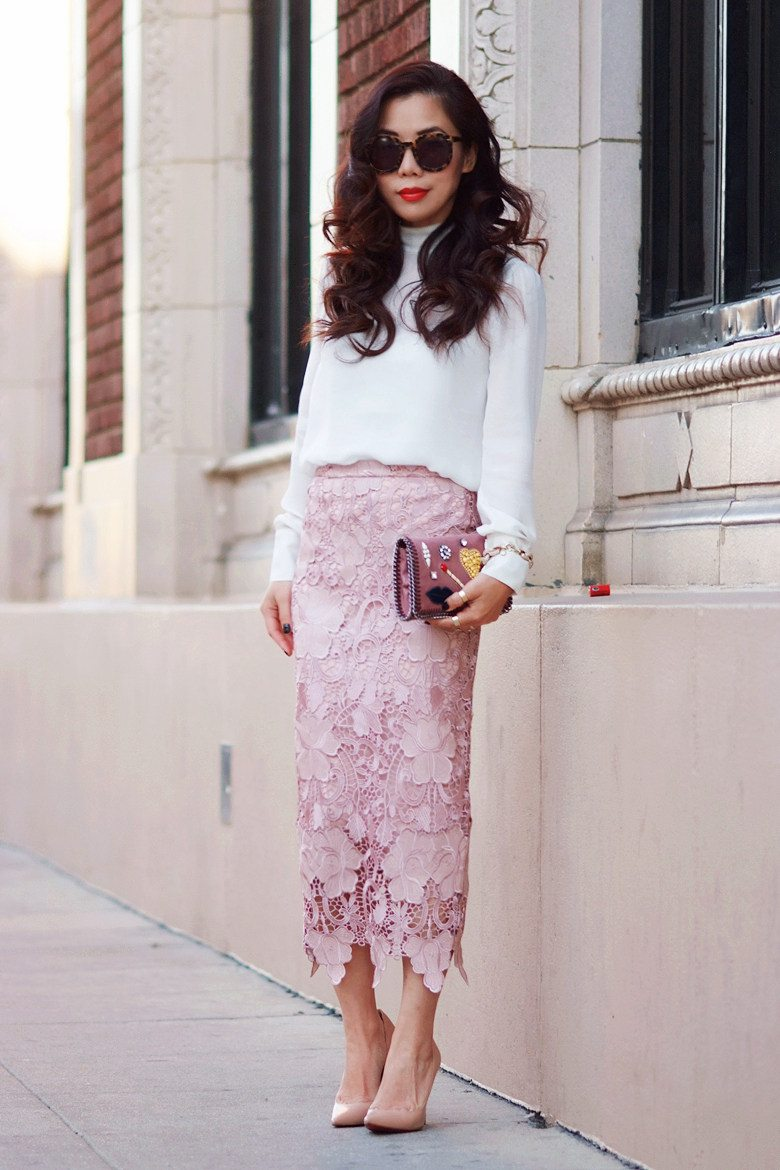 Lace Pencil Skirt and High Neck Silk Top | Hallie Daily