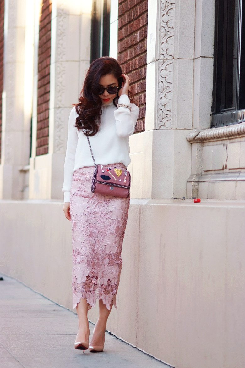 Lace Pencil Skirt And High Neck Silk Top Hallie Daily