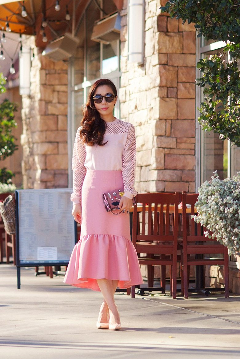 Smokey Pink Peplum Skirt And Embellishment Clutch