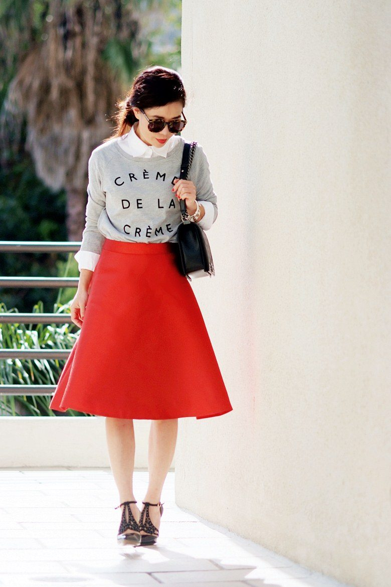 HallieDaily, J.Crew, A-Line Red Skirt, Chanel Boy Bag, Sweatshirt ...