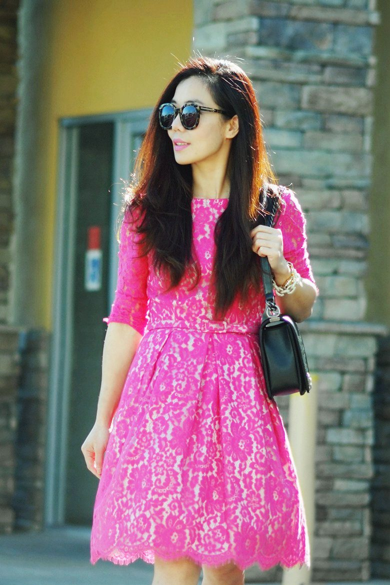 Lovely Lace Pink Lace Dress And Valentino Rockstud Shoes