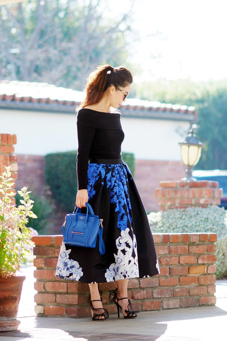 HallieDaily TIBI Full Skirt and Off the Shoulder Knit Top with Celine Bag and Dolce Gabbana Shoes_0