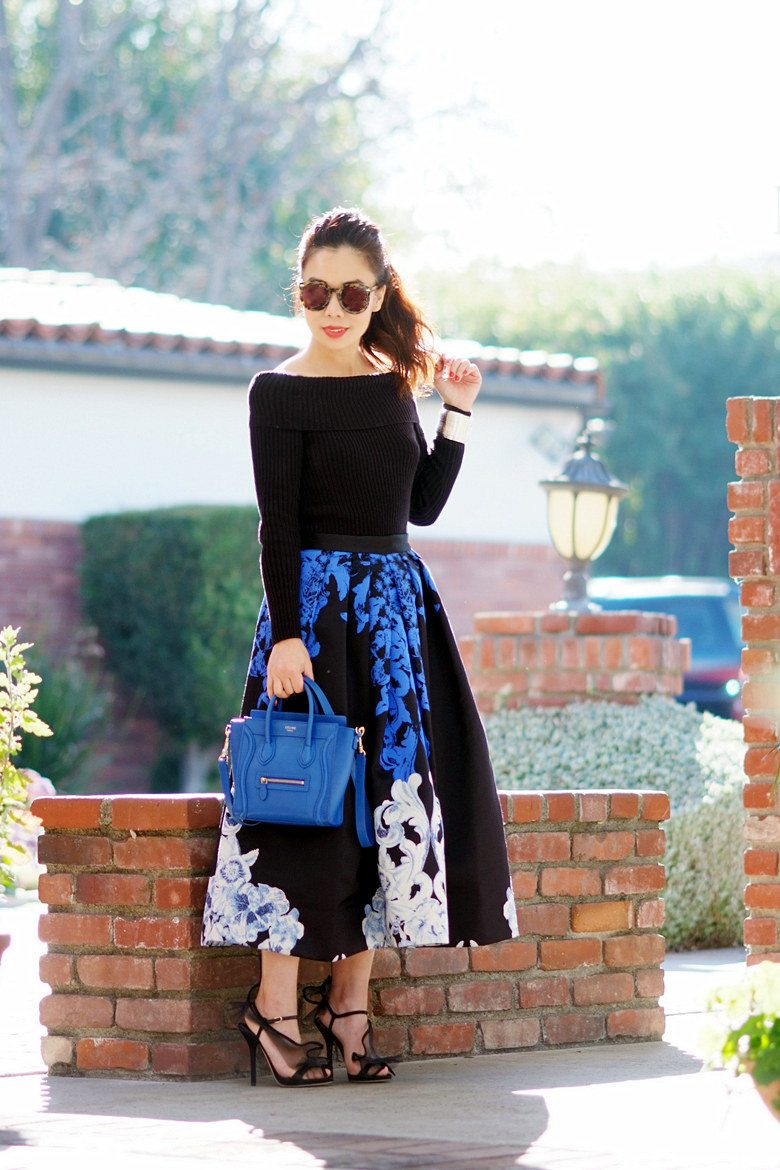 HallieDaily TIBI Full Skirt and Off the Shoulder Knit Top with Celine Bag and Dolce Gabbana Shoes_1
