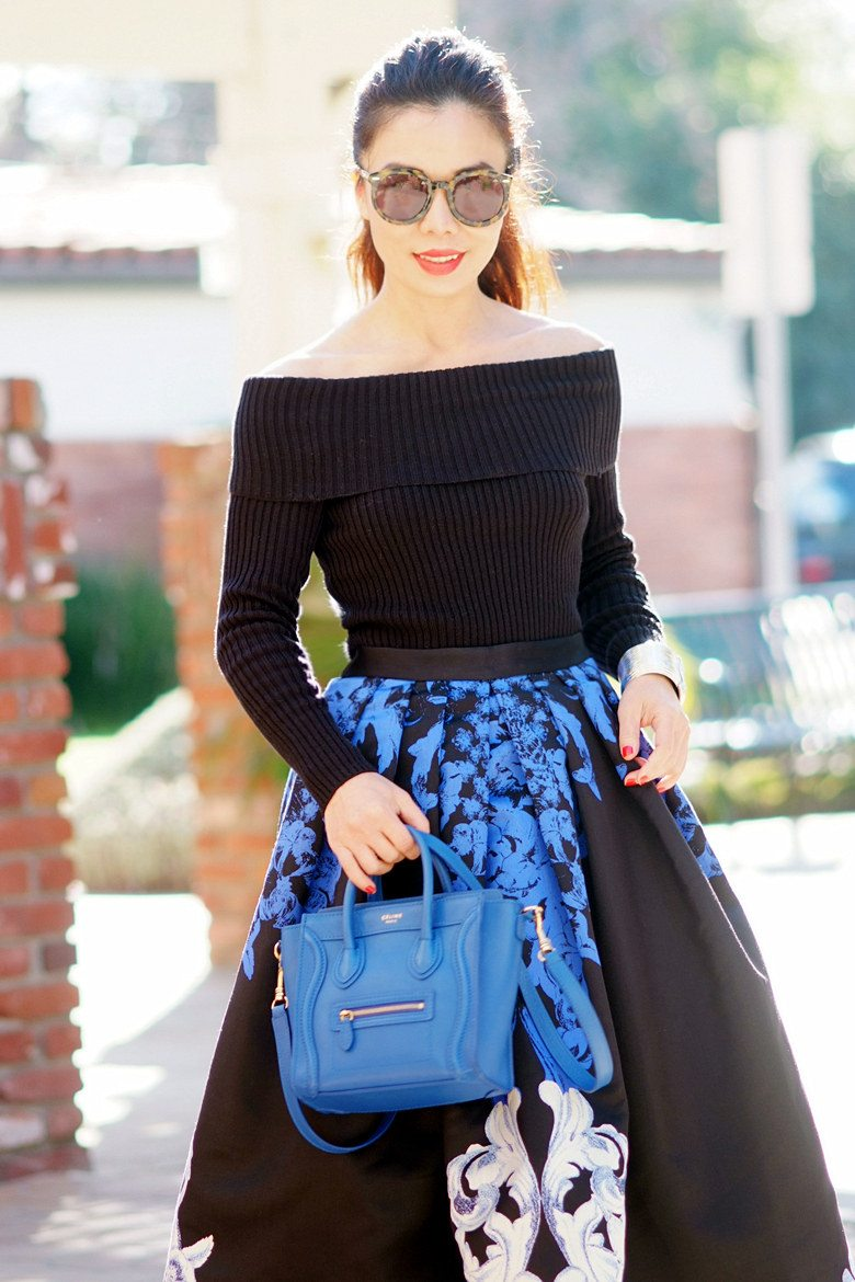 HallieDaily TIBI Full Skirt and Off the Shoulder Knit Top with Celine Bag and Dolce Gabbana Shoes_11