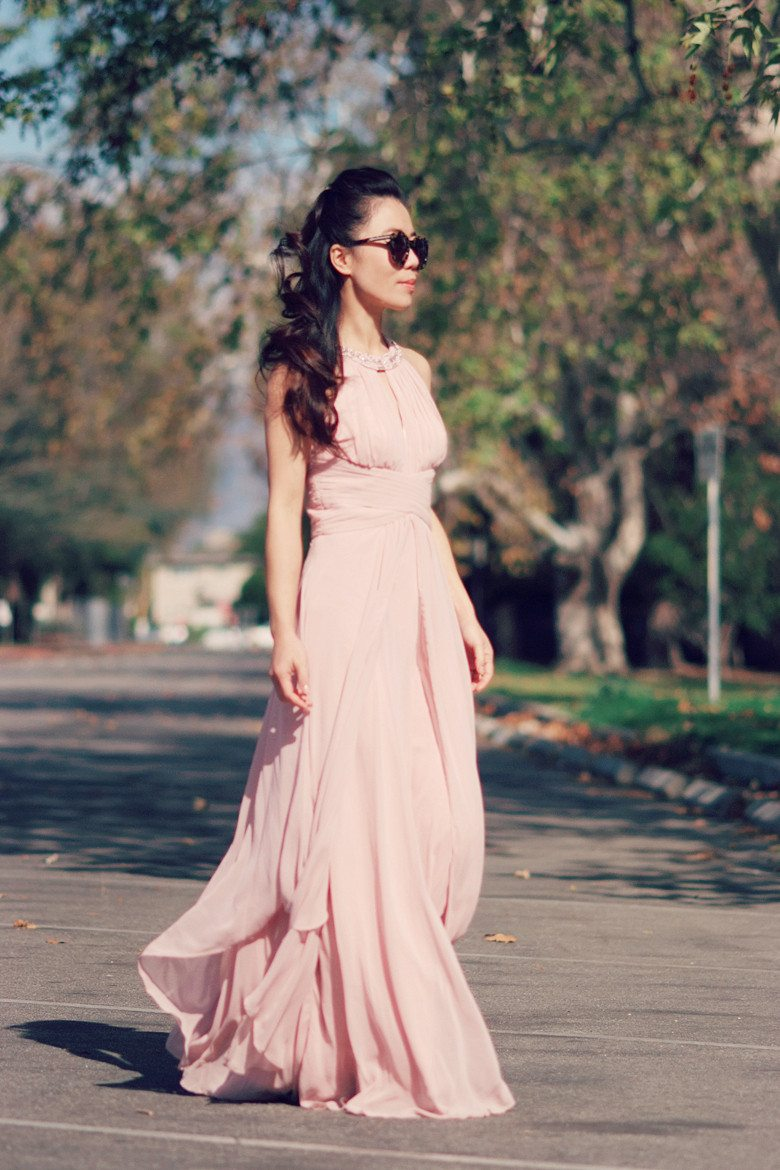 Vintage Rose Maxi Dress And Pale Pink Coat Hallie Daily