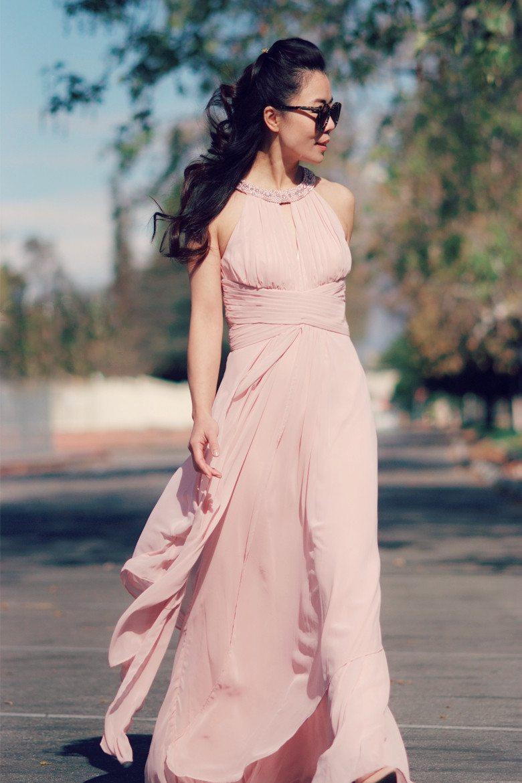 vintage rose maxi dress and pale pink coat hallie daily. Black Bedroom Furniture Sets. Home Design Ideas