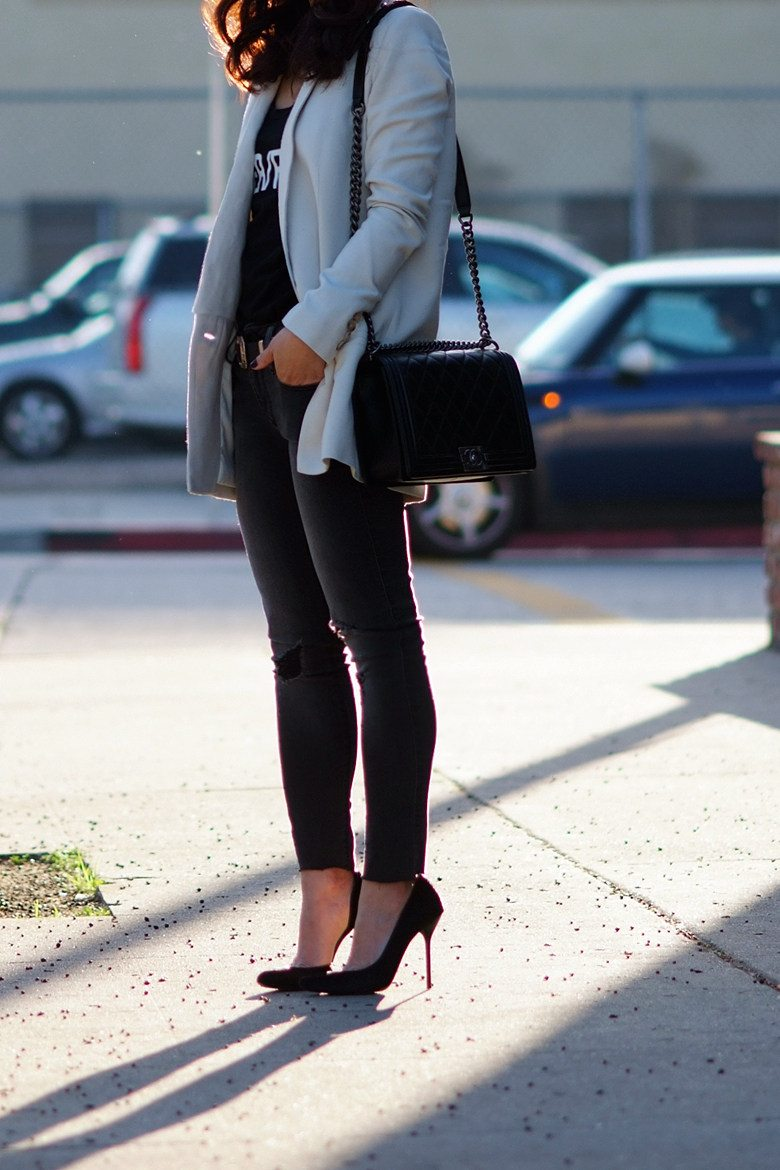 Back To Basic Casual Blazer And Cropped Jeans Hallie Daily