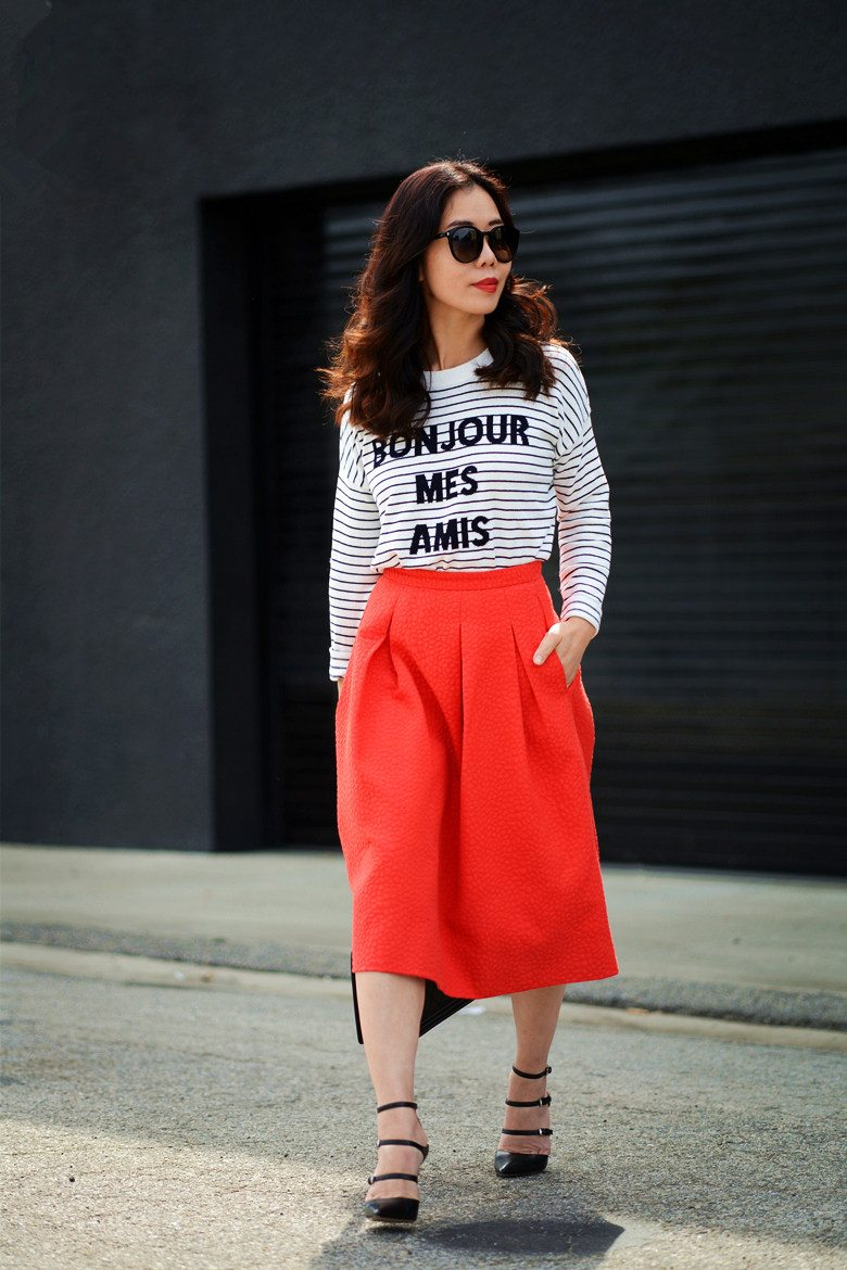 Red Alert Stripe Top And A Line Skirt Hallie Daily