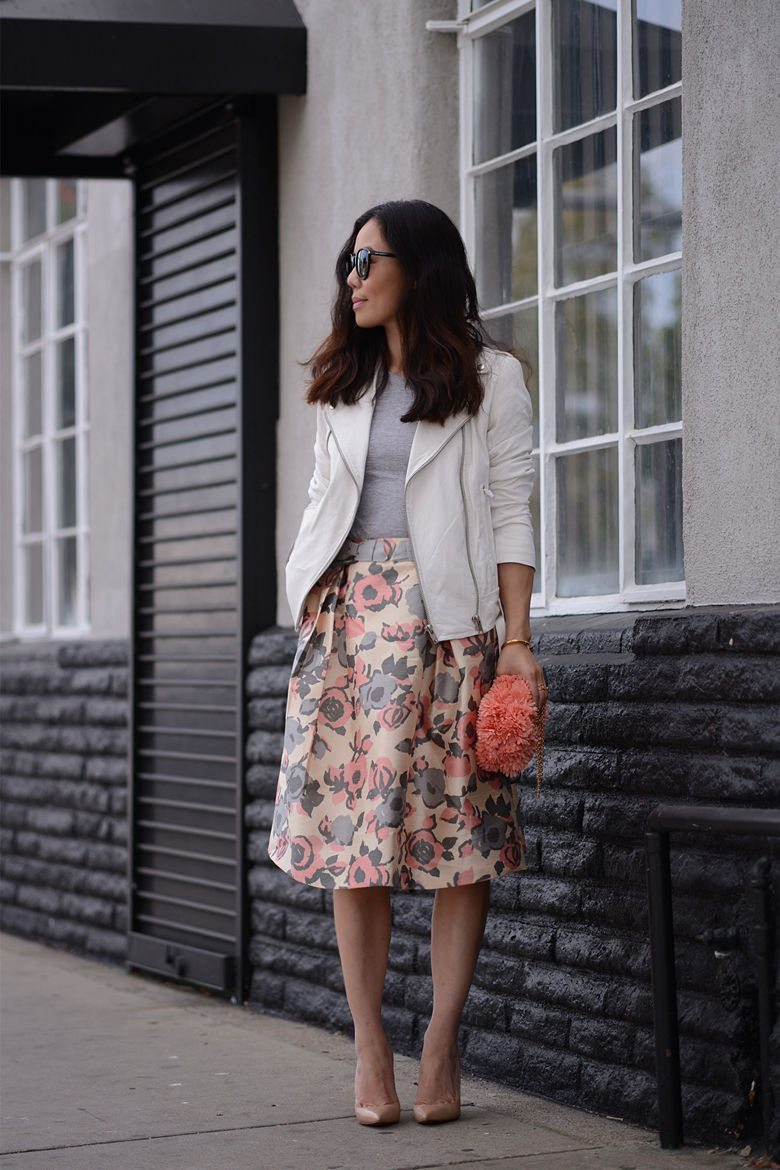 Butter and Flower : White Leather Jacket and Floral Full ...