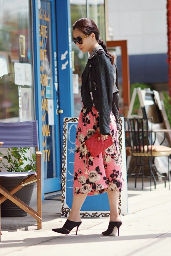 Street Art Floral Midi Skirt And Mules Hallie Daily