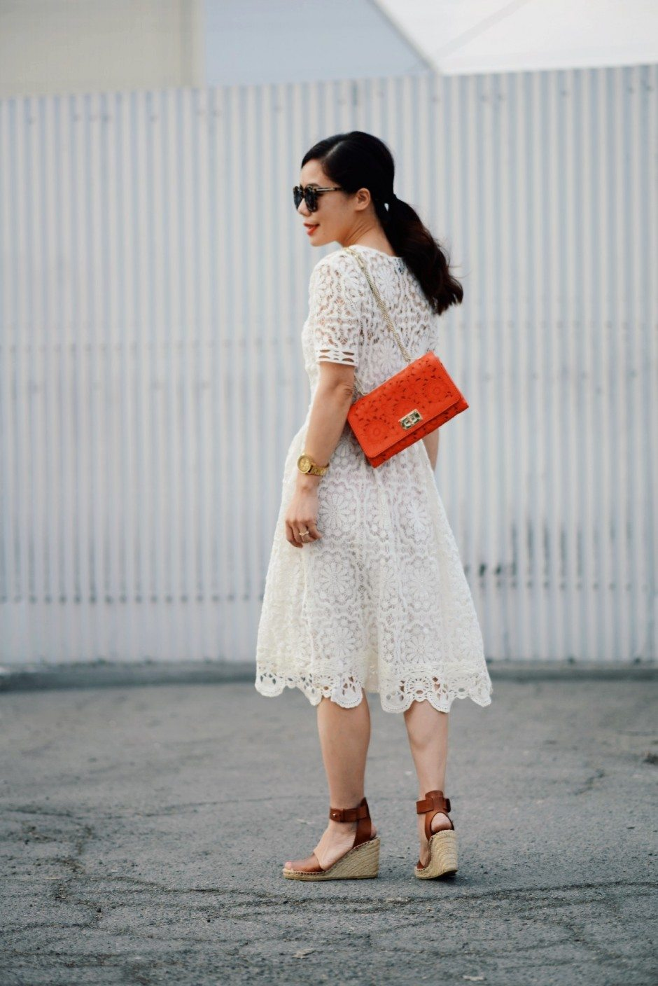 Valentino Love Lace Dress And Wedge Sandals Hallie Daily
