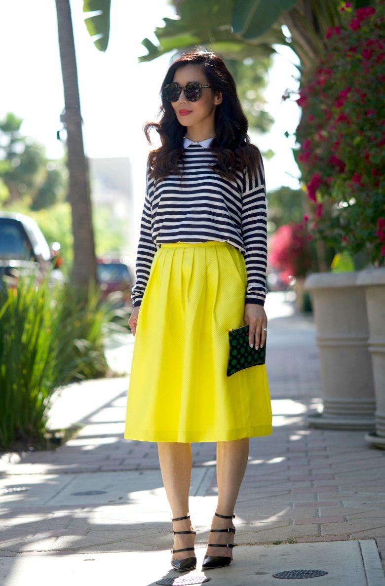 stripes and full midi skirt hallie daily. Black Bedroom Furniture Sets. Home Design Ideas