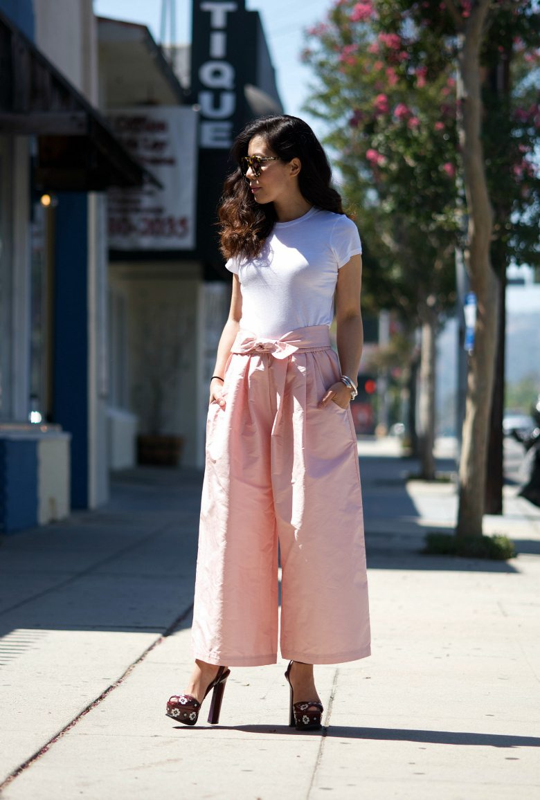 White Tee And Wide Leg Pants Hallie Daily