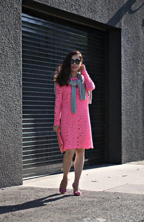 Dkny Pink Lace Dress Celine Shoes 11 Hallie Daily