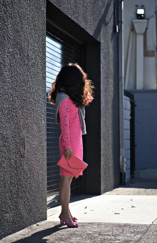 Dkny Pink Lace Dress Celine Shoes 12 1 Hallie Daily
