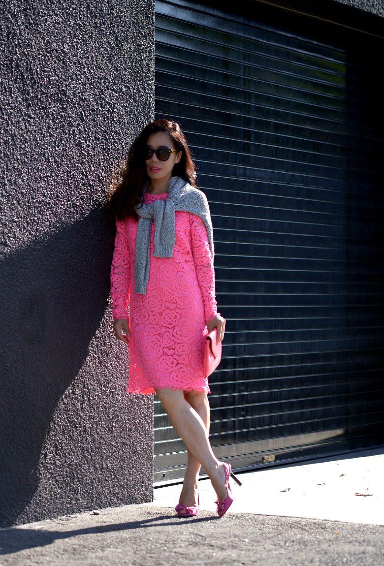 Dkny Pink Lace Dress Celine Shoes 4 Hallie Daily