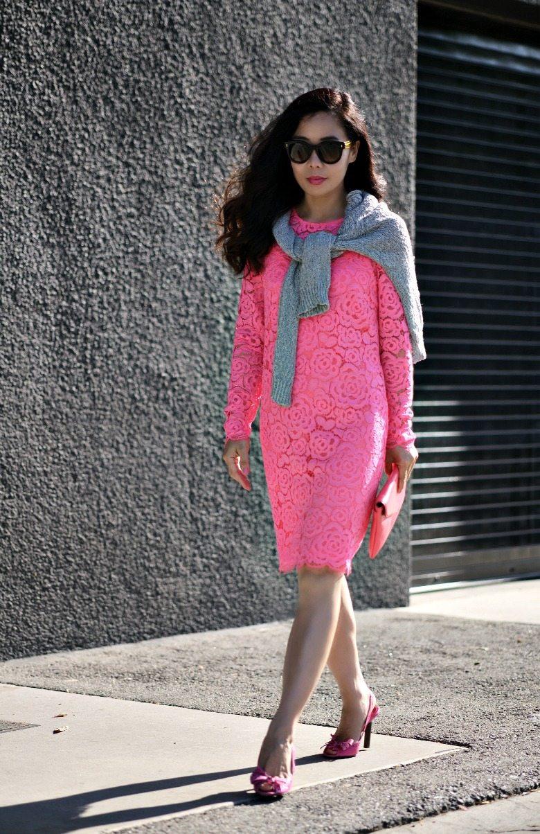 Dkny Pink Lace Dress Celine Shoes 7 Hallie Daily